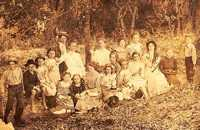 Sunday school class picnic, Texas vintage photo