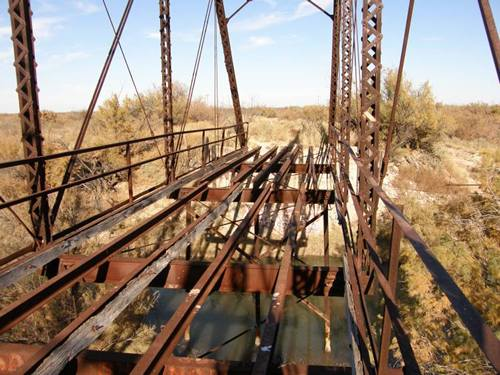 Imperial Through Truss Bridge floor beams,  Pecos River,  West Texas