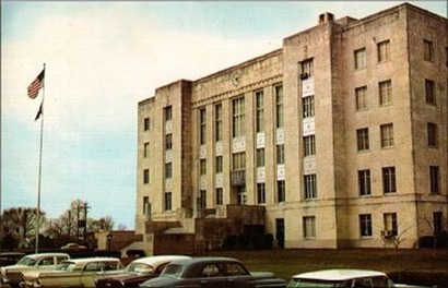 1940 Brazoria County courthouse,  Angleton, Texas, 1950 s postcard