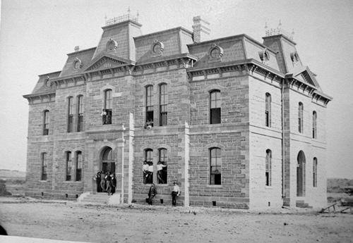 The 1885 Blanco County courthouse in Blanco Texas, old photo