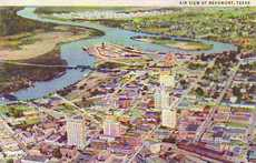 Beaumont, Texas air view of downtown and  Neches River