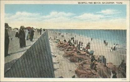 Galveston Seawall And Beach 1920s