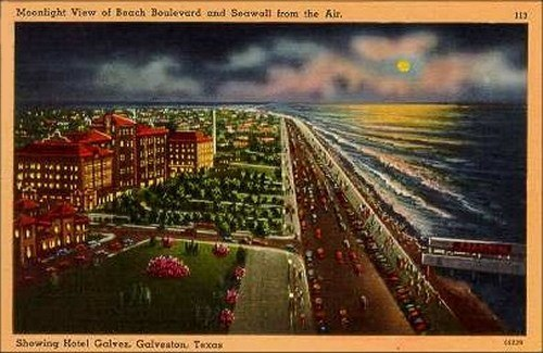 Galveston Texas Moonlight View Of Beach Boulevard And Seawall Hotel Galvez