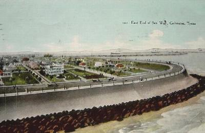 Galveston End Of Seawall 1908 Old Photo