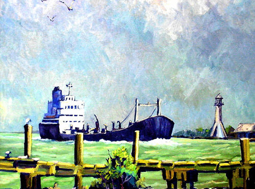Ship and lighthouse in Sabine Pass, Texas painting