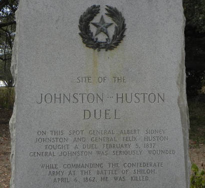 Site of Johnston-Huston Duel Texas Centennial Marker