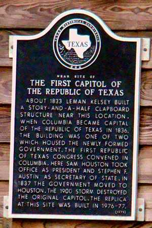 The First Capitol Of Republic Texas Historical Marker West Columbia