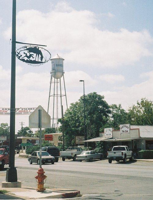 Downtown Bandera Texas And Water Tower