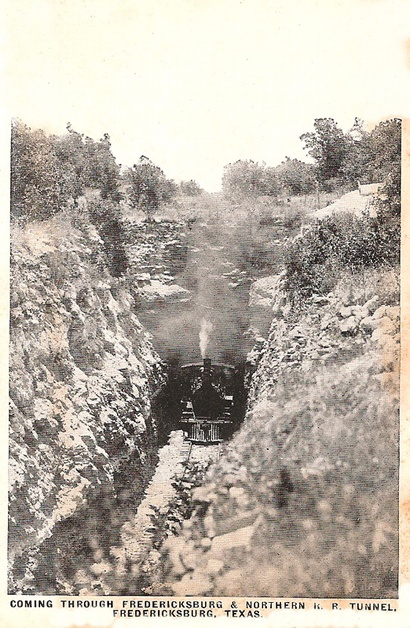 Bankersmith, Texas - Train coming through Fredericksburg and Northern Railway Tunnel
