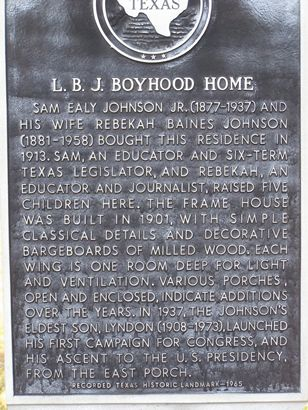 L.B.J. Boyhood Home historical marker,  Johnson City TX