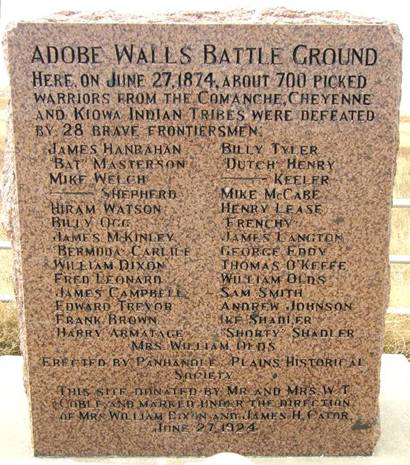 Texas June27-1874 Adobe Walls Battle Ground Marker
