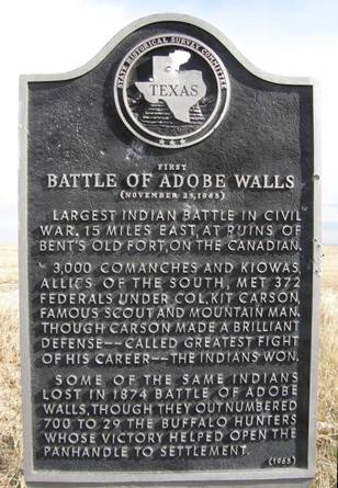 Texas First Battle Of Adobe Walls Historical Marker