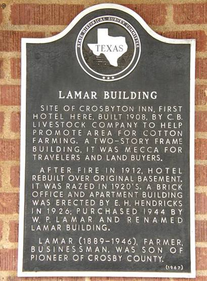 Crosbyton Tx - Lamar Building, Lowes Drug Store Historica Marker