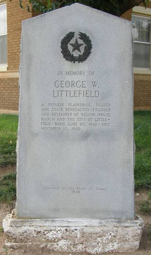 George W Littlefield Marker in Littlefield Tx