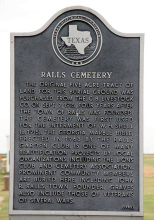Ralls Tx - Ralls Cemetery historical marker