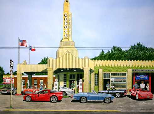 Shamrock Texas Conoco Gas Station with Corvettes