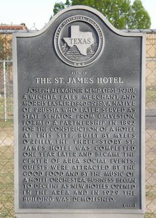 Wichita Falls Tx St James Hotel Historical Marker