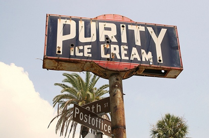 Purity Ice Cream neon sign in Galveston, Texas