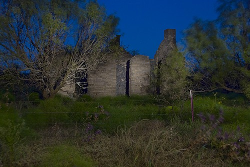 Belle Plaine College ruins night view, Belle Plain Texas
