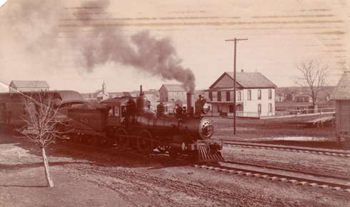 Locomotive approaching Manor Texas 1920s