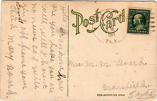 Alpha, Texas Huntchinson County  1911 Postmark
