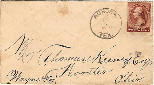 Aurora TX Wise Co 1886 Postmark
