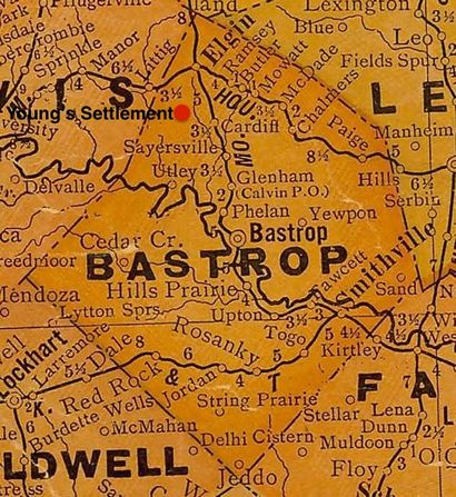 Bastrop County TX 1920 Map
