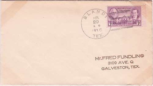 Bland, TX, Bell County, 1936 postmark