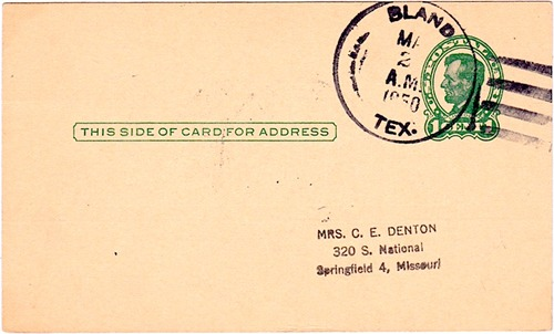 Bland, TX, Bell County, 1953 postmark