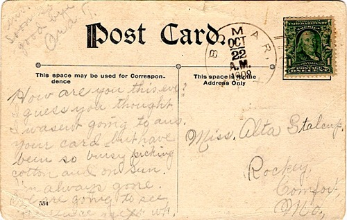 Bomar or Spring Creek, TX  1908 postmark