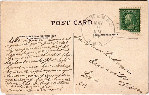 Jefferson  County Cheek TX 1909 postmark i