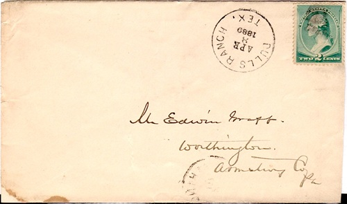La Salle County Dull's Ranch, TX  1889 Postmark