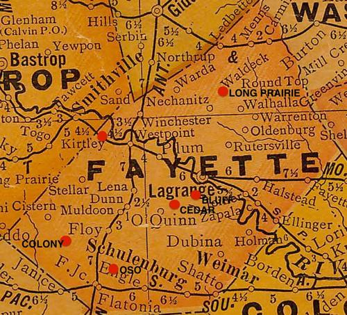 TX Fayette County vintage map