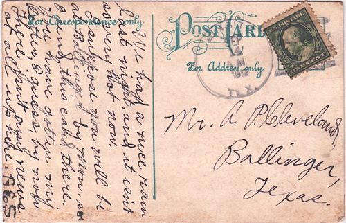 Ginsite TX Cottle County 1912 Postmark