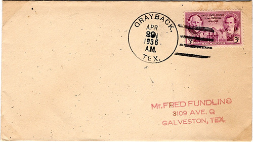Grayback, TX, Wilbarger County 1936 canceled postmark