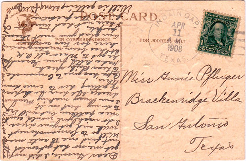Indian Gap TX - Hamilton Co 1908 Postmark