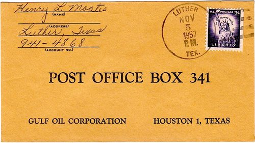 Howard County  Luther TX Postmark