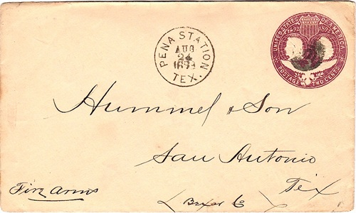 Jim Hogg County - Pena Station, TX  1893 Postmark