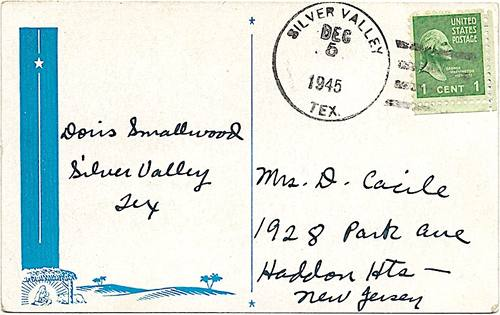 Silver Valley TX, Coleman Co, 1945 Postmark