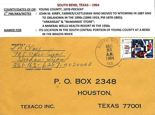 South Bend TX Young Co 1964 Postmark