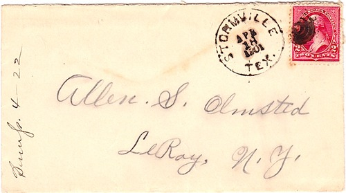 Stormville, TX -  Wood County 1901 Postmark