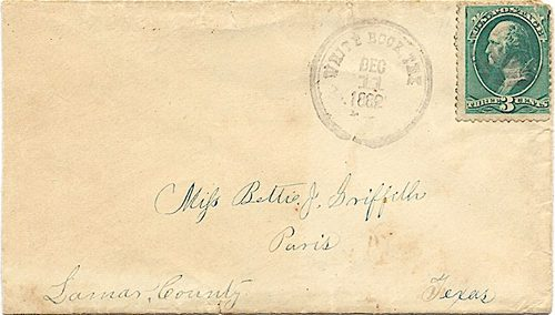 White Rock TX, Hunt Co,  cover canceled with 1882  postmark