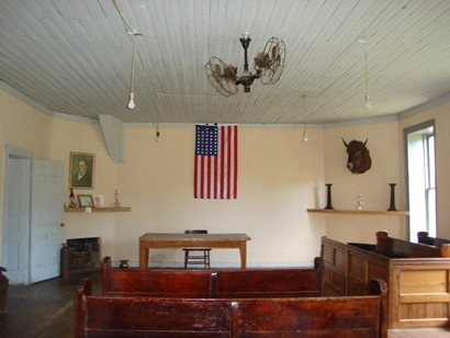 First Taylor county courthouse courtroom, Buffalo Gap, Texas