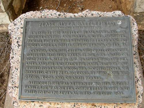 Pease River Battle Cynthia Ann Parker marker, Crowell Tx