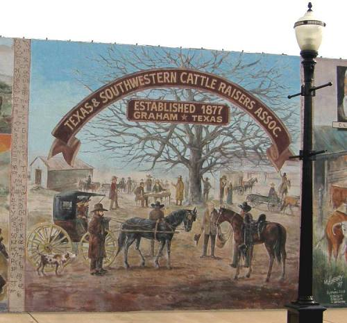 Graham Texas History Mural Elished 1877 Southestern Cattle Raisers Oc