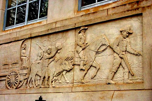 Graham Tx Young County Courthouse Relief Showing Riders And Wagon